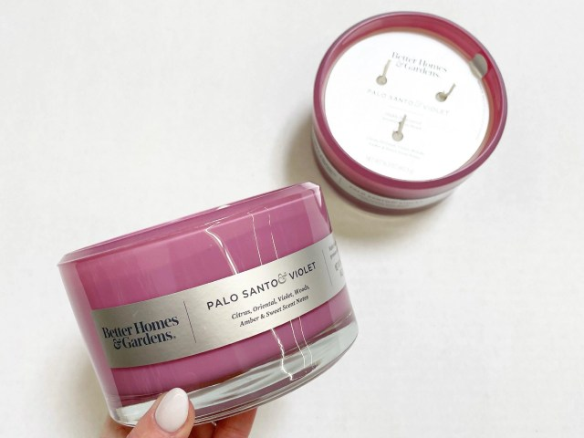 Better Homes & Gardens Glass Palo Santo & Violet Scented Candle