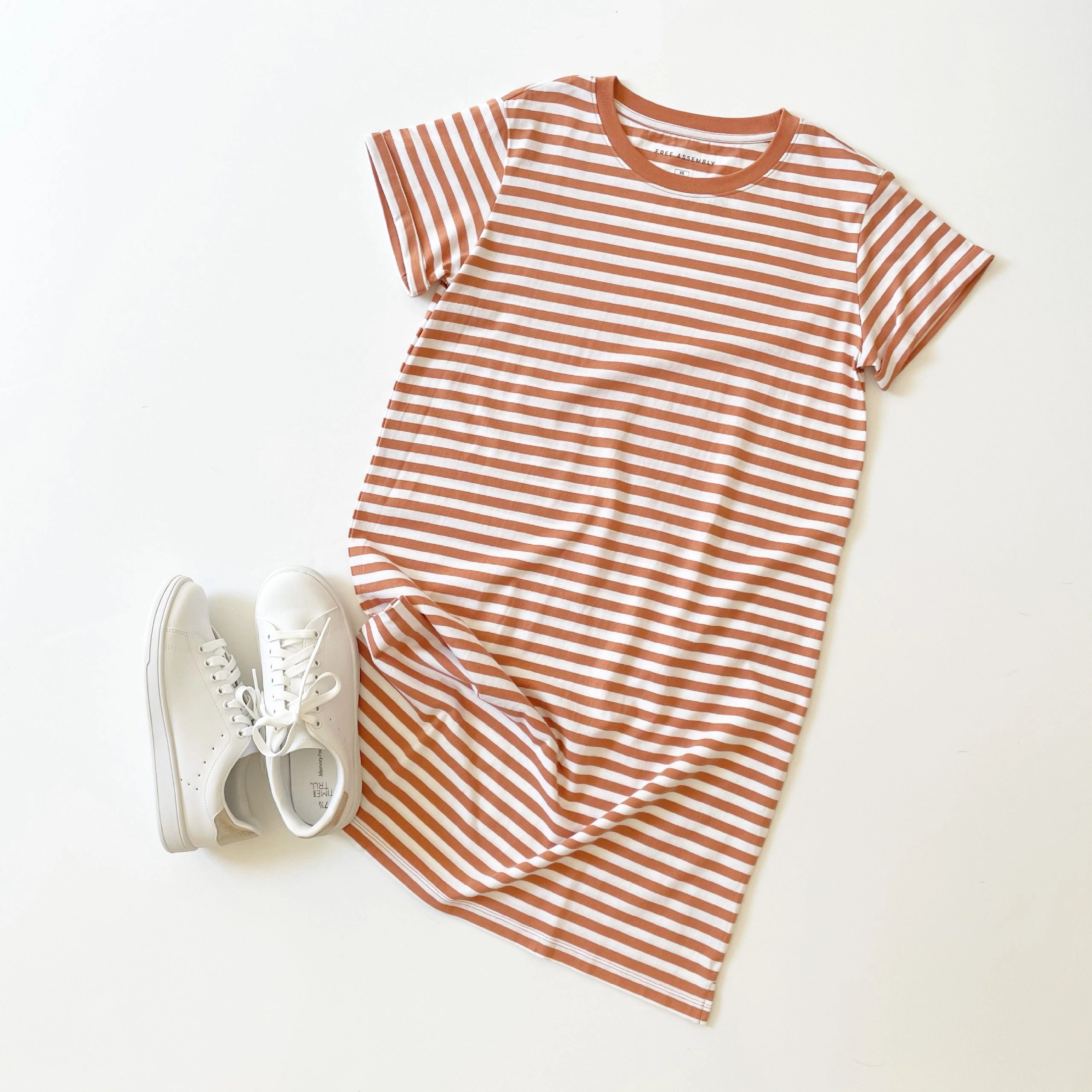 Free Assembly T-Shirt Dress with Cuffed Sleeves and Time and Tru Classic Court Sneaker