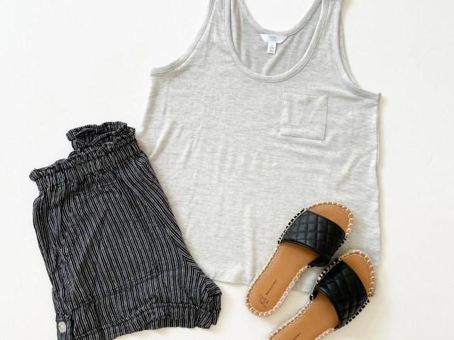 Time and Tru Scoop Tank Top, Linen Shorts and Quilted Espadrille Slides