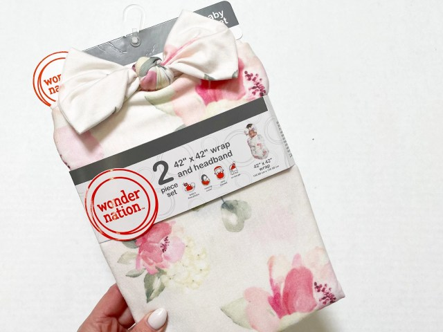 Wonder Nation Baby Girl Charming  Floral Print Swaddle Wrap and Headband