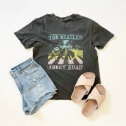 Scoop The Beatles Abbey Road Graphic T-Shirt, Sofia Vergara Hi-Rise Shorts and Time and Tru Crossband Slides