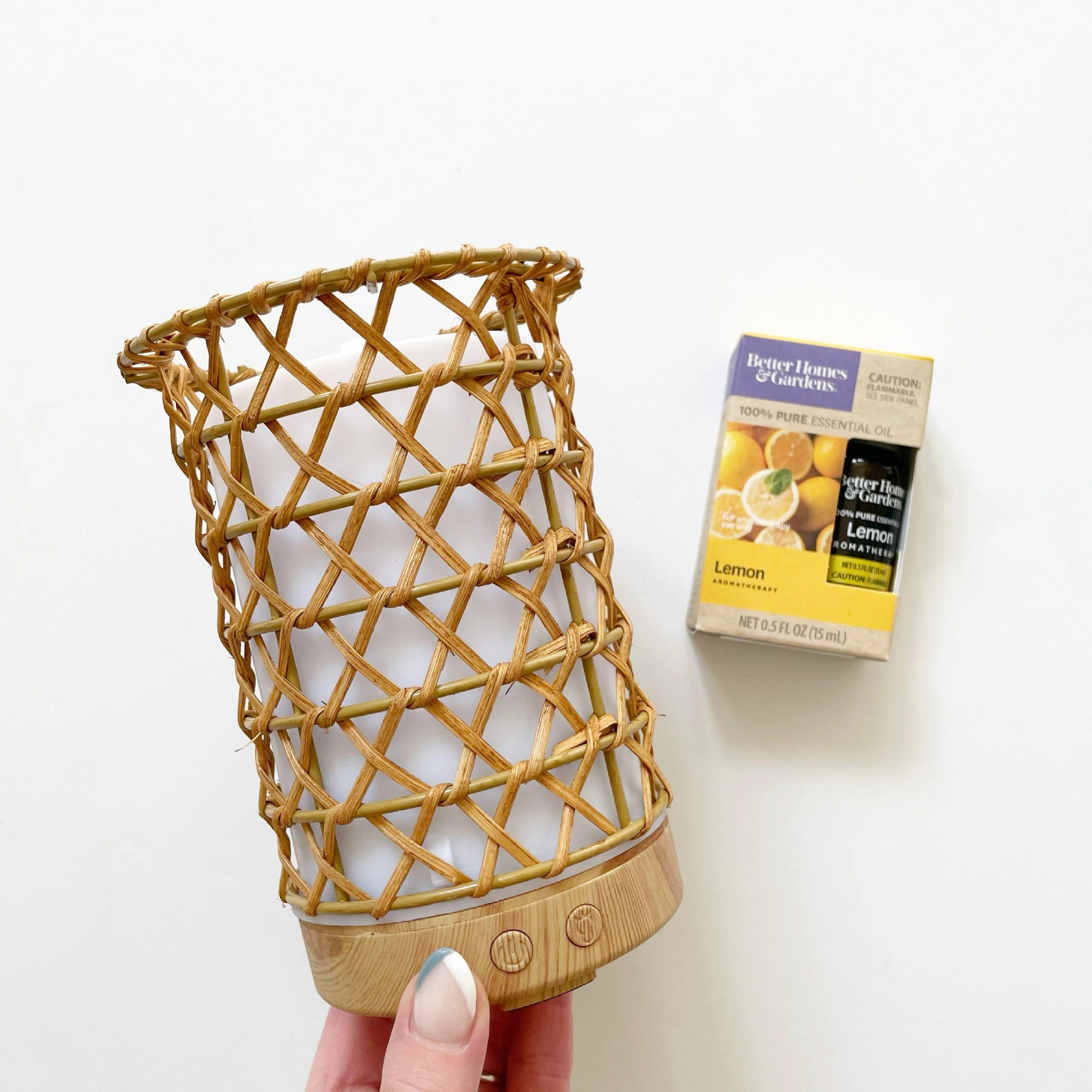 Better Homes & Gardens Woven Rattan Ultrasonic Aroma Diffuser and Essential Oil