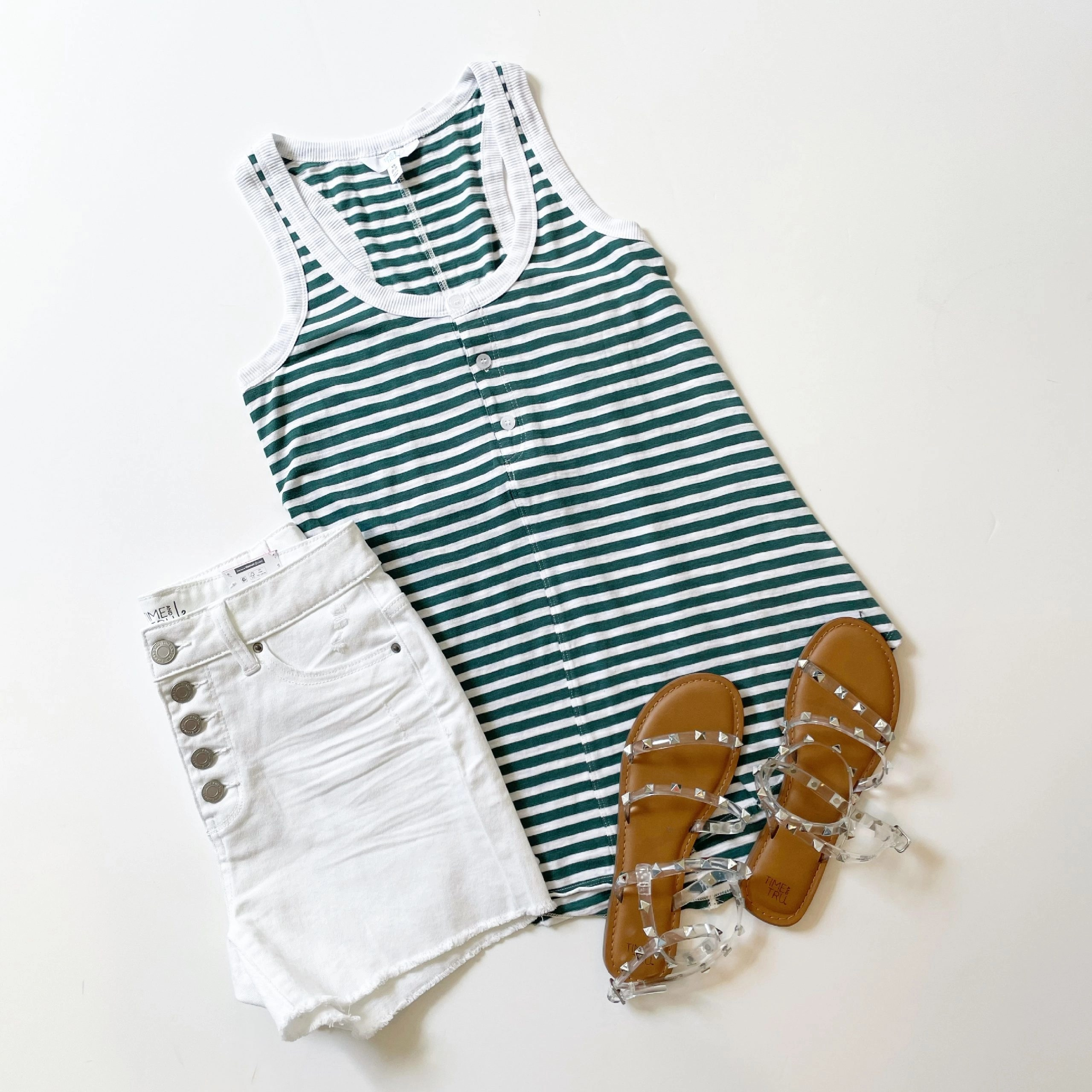 Time and Tru Rib Henley Tank Top, 5-Button Jean Shorts and Studded Sandals