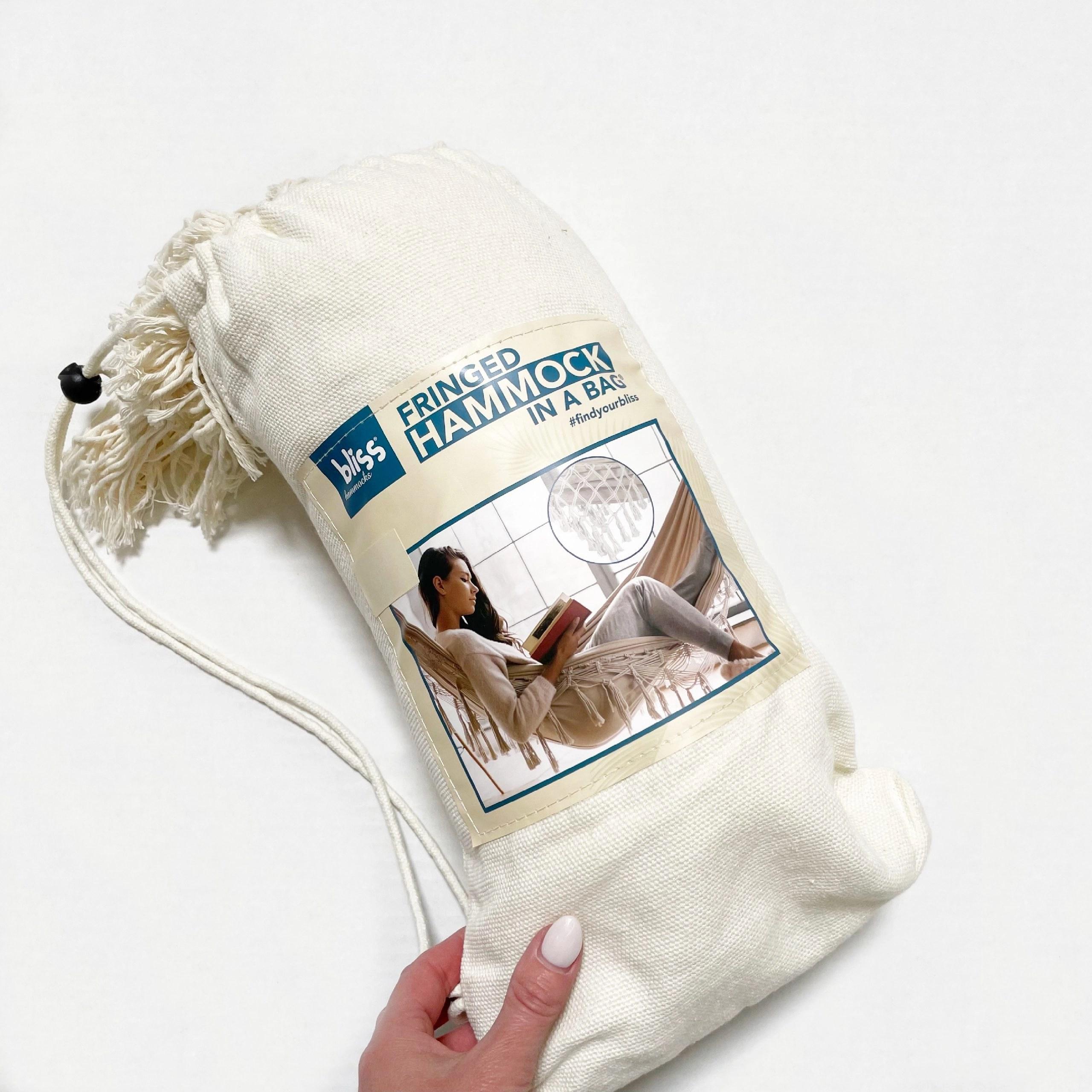 Bliss Hammocks Hand-Braided Hammock in a Bag With Decorative Fringe