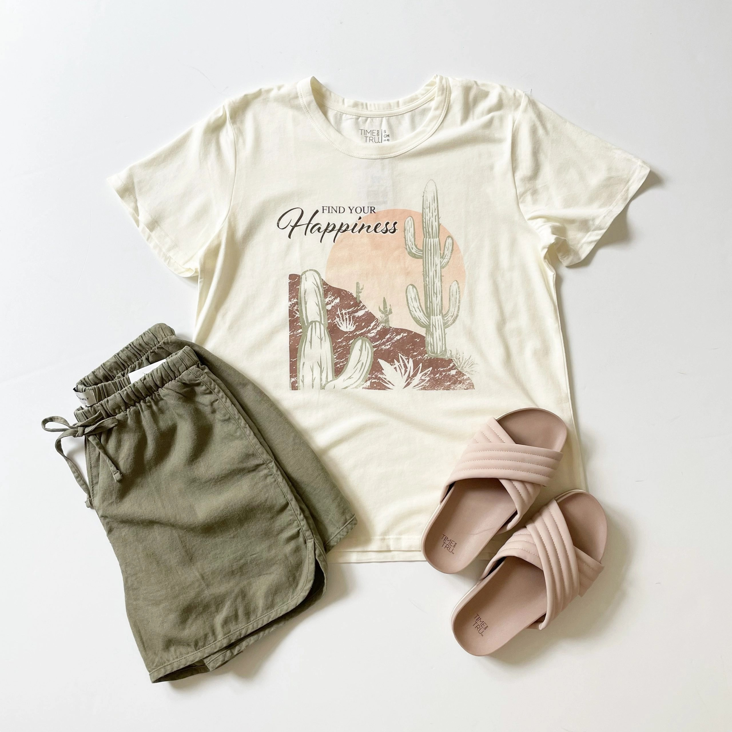 """Time and Tru """"Find Your Happiness"""" Graphic Tee and Quilted Slides + Free Assembly Drawstring Shorts"""