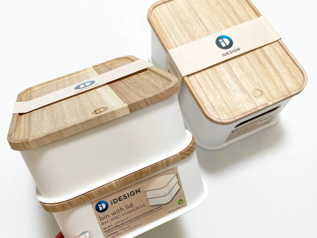 iDesign Eco White Plastic Storage Bins with Paulownia Wood Lids