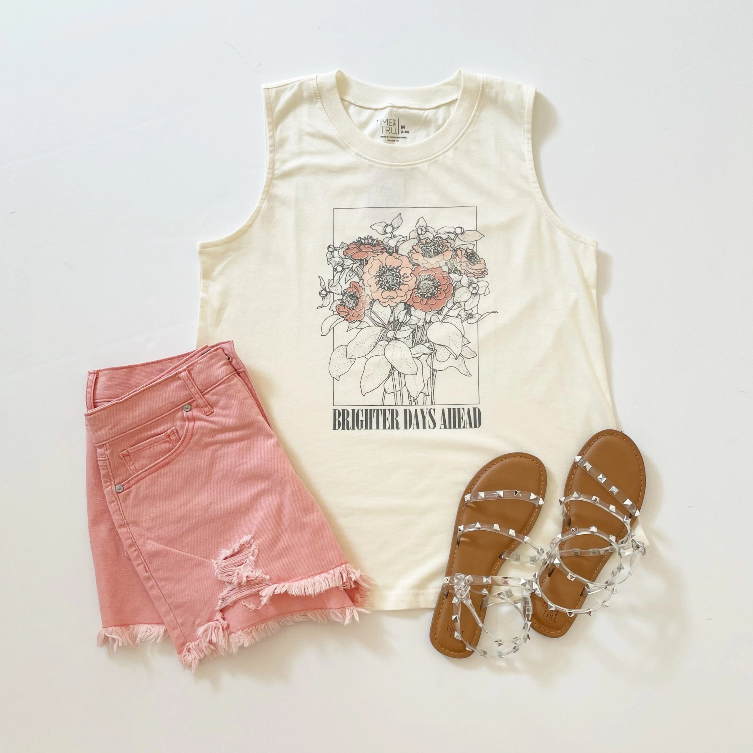 Time and Tru Brighter Days Tank Top and Studded Sandals + Scoop Retro Destroyed Hem Shorts