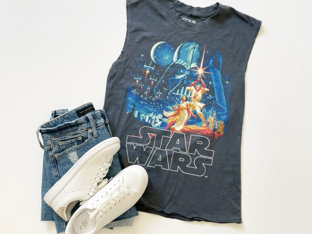 Scoop Star Wars Graphic Sleeveless T-Shirt, Free Assembly 90's Cut Off Denim Shorts and Time and Tru Classic Court Sneaker