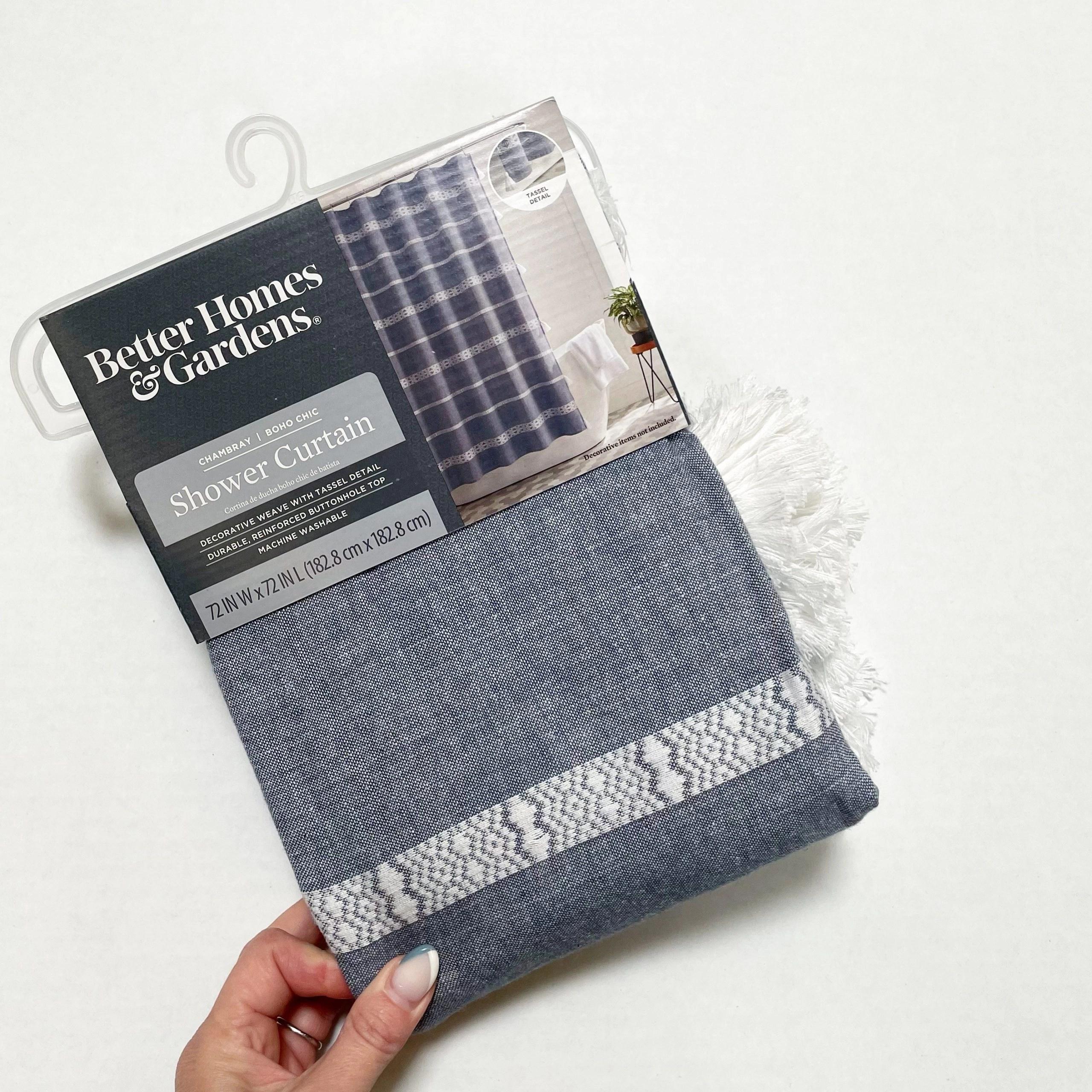 "Better Homes & Gardens Boho Chic Bathroom Cotton Shower Curtain , Blue , 72""x72"""