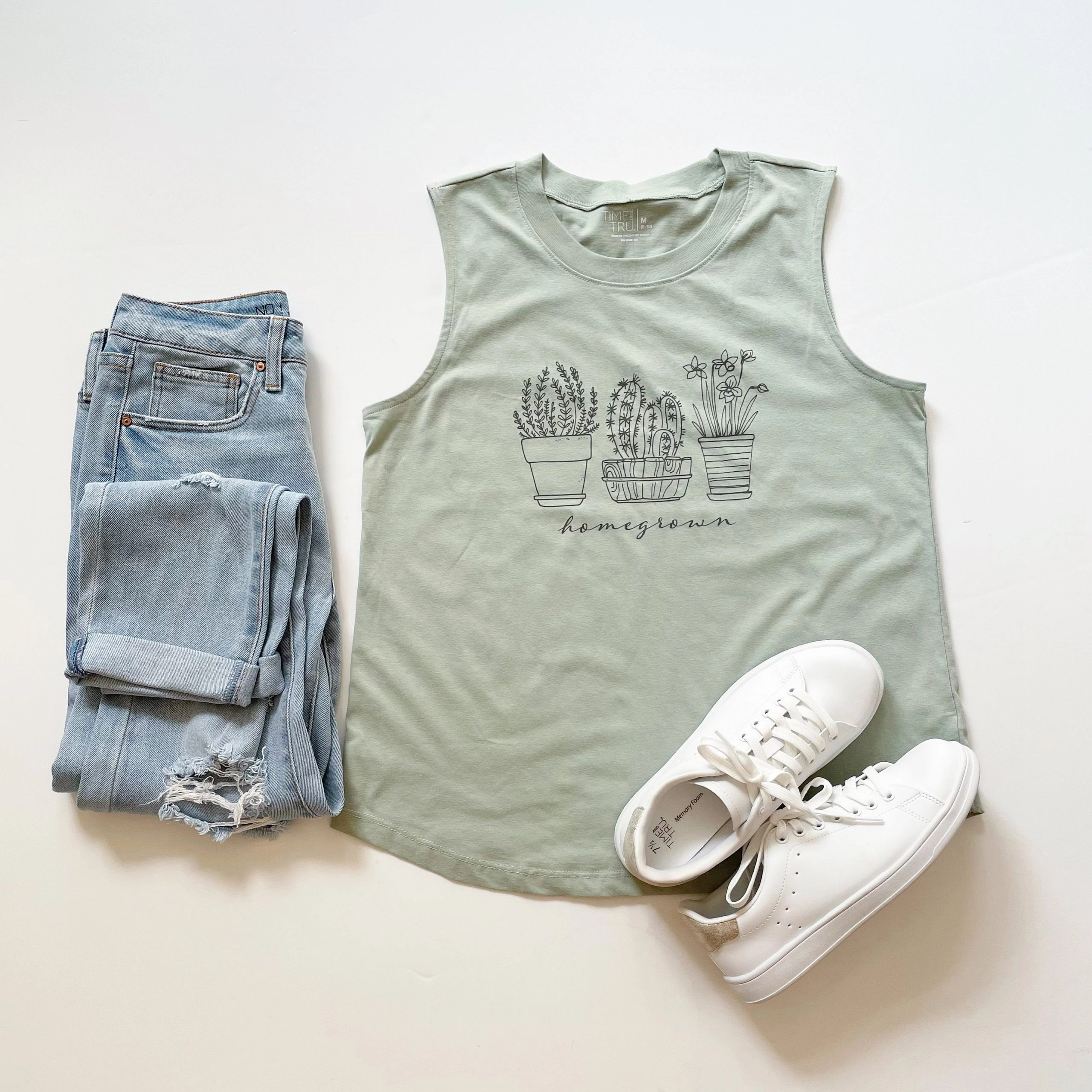 No Boundaries Girlfriend Jeans + Time and Tru Homegrown Graphic Tank Top and Court Sneakers