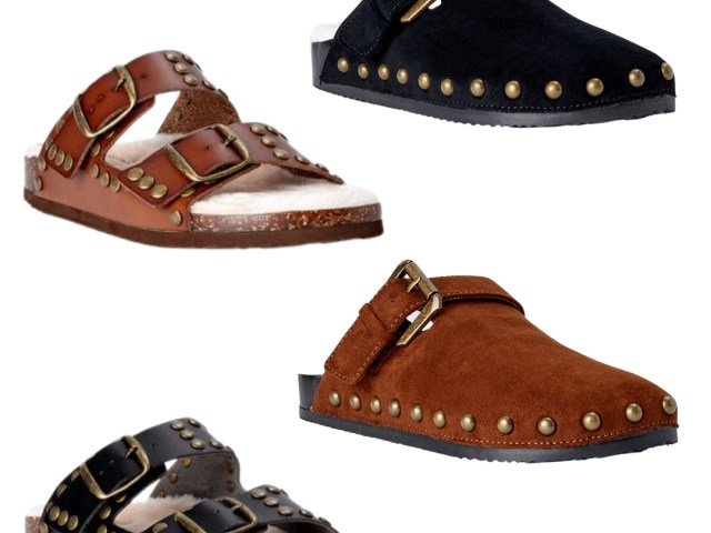 Scoop Studded Faux Shearling Clogs and Sandals