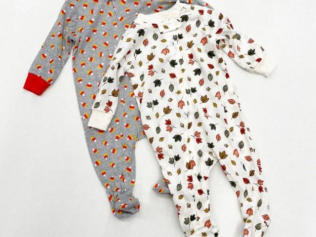 Way to Celebrate Fall Leaves and Halloween Candy Corn Sleep N Play Pajama Set