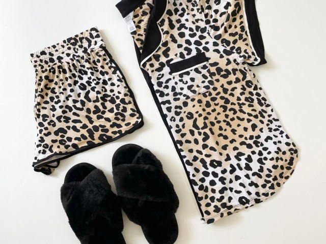 Sofia Intimates Notch Collar Pajama Set and Vonmay Faux Fur Plush Slippers