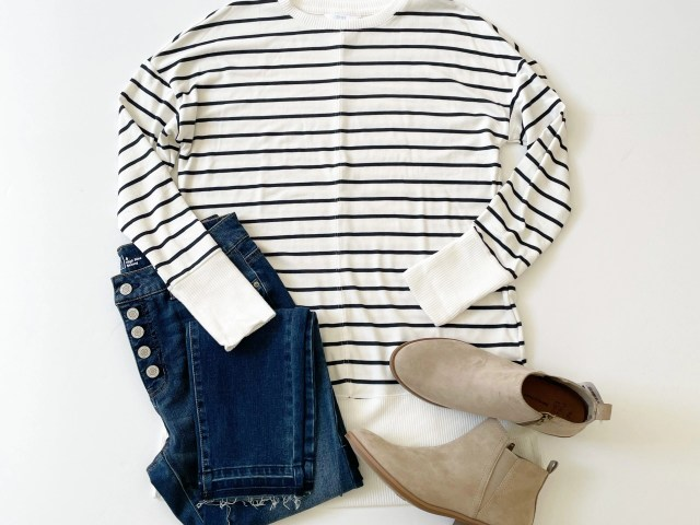 Time and Tru Hacci Tunic, High Rise Skinny Jeans and Ankle Bootie
