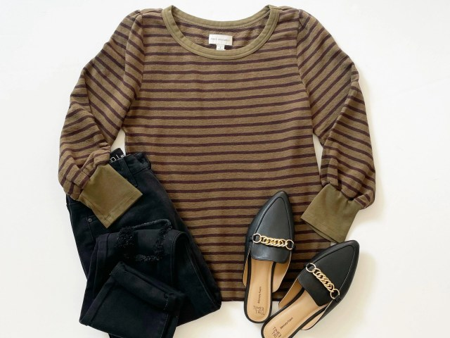 Free Assembly Puff Sleeve Top, No Boundaries Mom Jean and Time and Tru Chain Mule