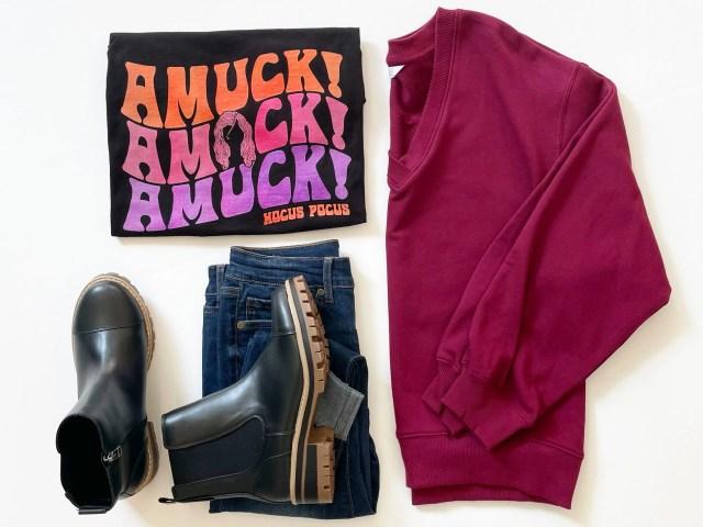 Disney's Hocus Pocus Amuck Graphic Tee, Time and Tru V-Neck Sweater, Sofia Vergara Roll Cuff Jean and Lug Boots