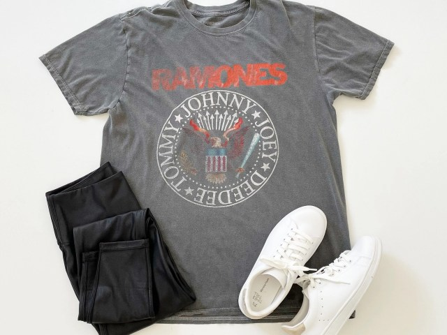 Plain Studios Ramones Graphic Tee, Time and Tru Faux Leather Leggings and Classic Court Sneakers
