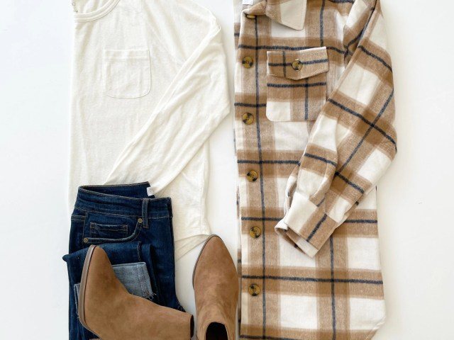 The Get Long Plaid Shacket, Free Assembly Long Sleeve T-Shirt, Sofia Vergara Roll Cuff Jeans and Time and Tru Heeled Boot