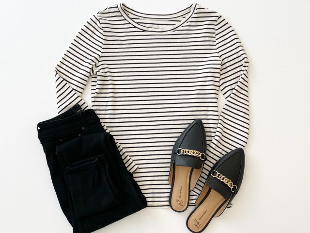 Time and Tru Long Sleeve Ribbed T-Shirt, Free Assembly Jeggings and Time and Tru Chain Mules