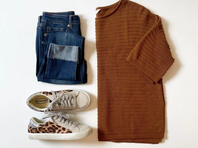 Time and Tru Boatneck Sweater, Sofia Vergara Roll Cuff Jeans and Scoop Leopard Print Sneakers