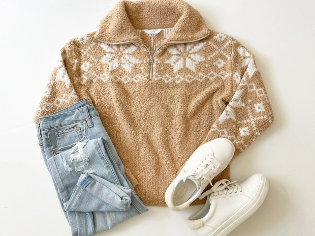 Time and Tru Quarter Zip Sweater, No Boundaries Girlfriend Jeans and Scoop Faux Croc Sneakers