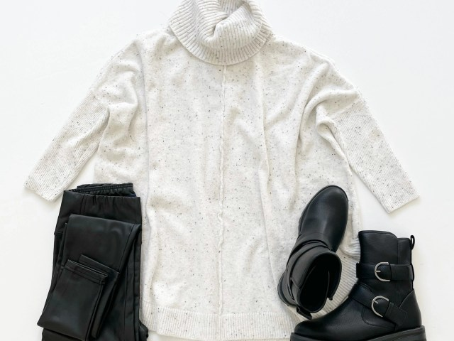 Time and Tru Cowl Neck Sweater, Faux Leather Leggings and Cozy Moto Boot