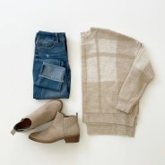 Time and Tru Plaid Relaxed Fit Sweater, Sofia Roll Cuff Skinny Jeans and Time and Tru Ankle Boot