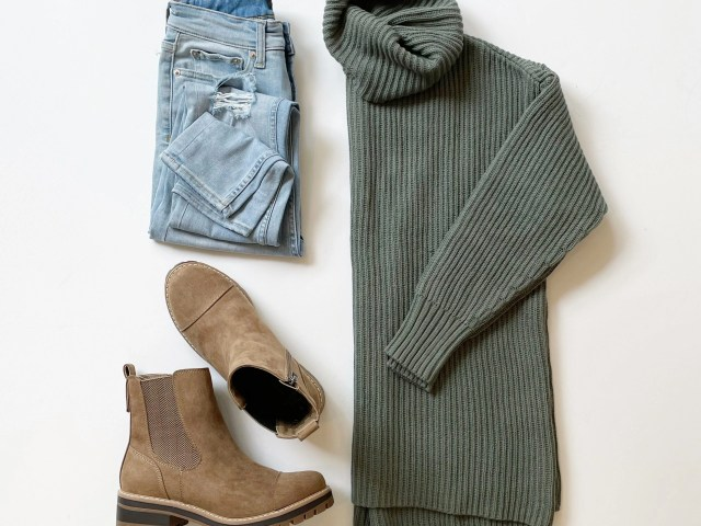 Free Assembly Turtleneck Tunic Sweater, High Rise Skinny Jeans and Time and Tru Lug Boots
