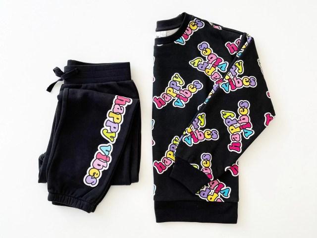 "We Wear Cute Girls' ""Happy Vibes"" Graphic Sweatshirt and Sweatpants Set"