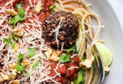 walnut lentil meatballs spaghetti