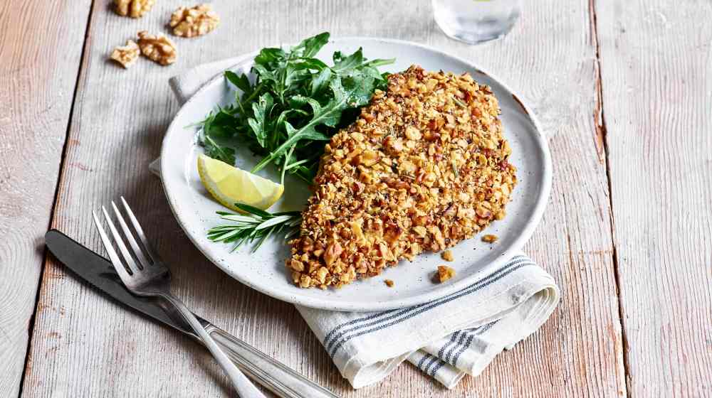 Herbed Matzo Walnut Crusted Chicken