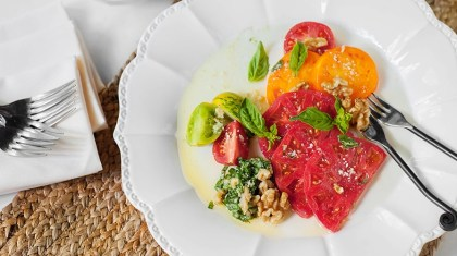 Chunky Walnut Pesto Heirloom Tomatoes