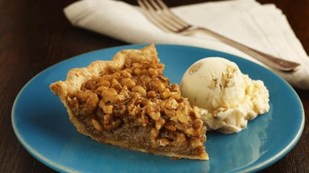 Rum Walnut Pie with Banana Ice Cream