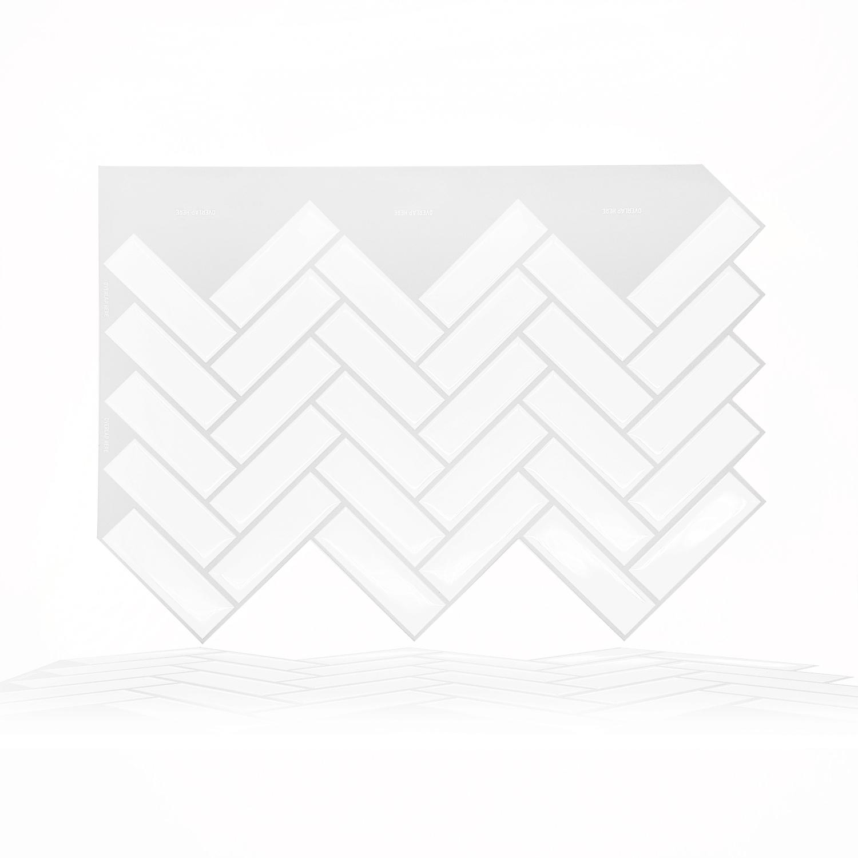 white herringbone glossy 3d tiles