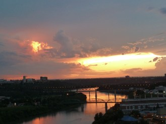 Sun set over the river valley.