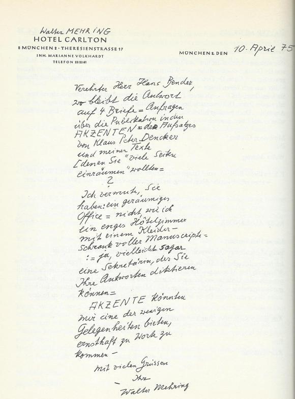 Brief an Hans Bender vom 10. April 1975