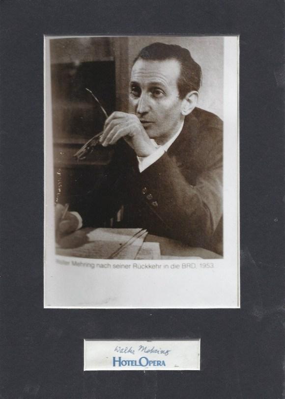 Porträt von Walter Mehring mit Autogramm aus dem Jahr 1953