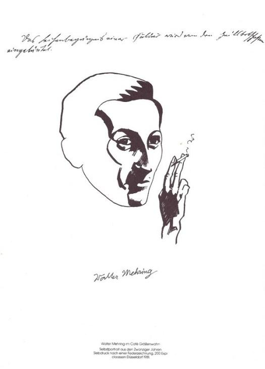 Selbstporträt Walter Mehrings als Siebdruck des Verlages