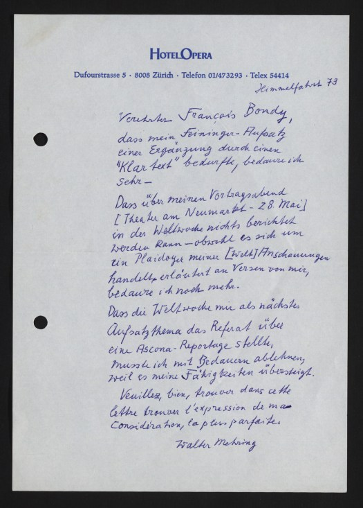 Brief Walter Mehring vom 31. Mail 1973 an François Bondy (1915–2003).