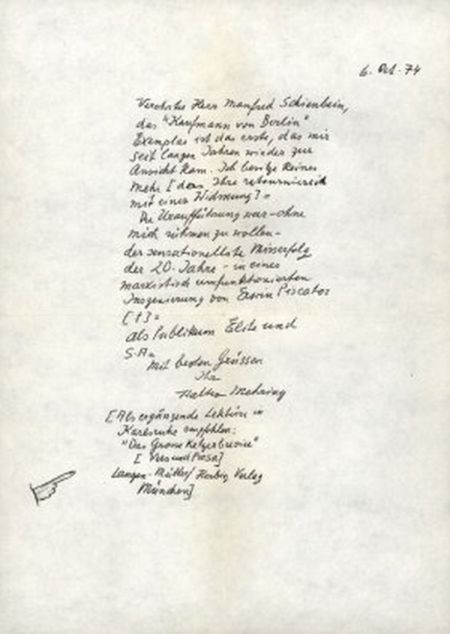 Widmungsbrief Mehrings für eine Ausgabe des Kaufmanns von Berlin (1974)