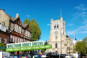 Waltham Abbey church with Greens logo