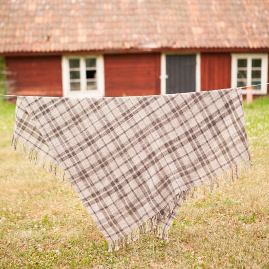 Plaid shawl hanging on washlline, old red house in background