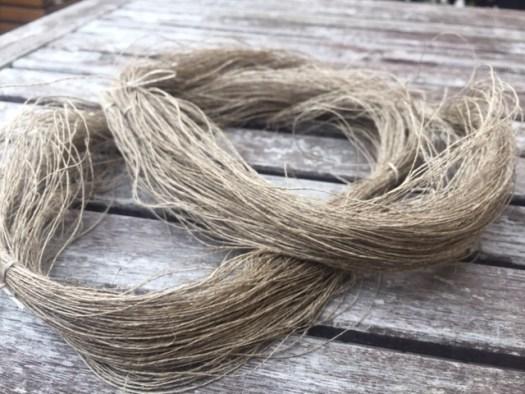 A skein of handspun flax yarn.