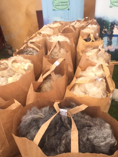 Paper bags full of wool.