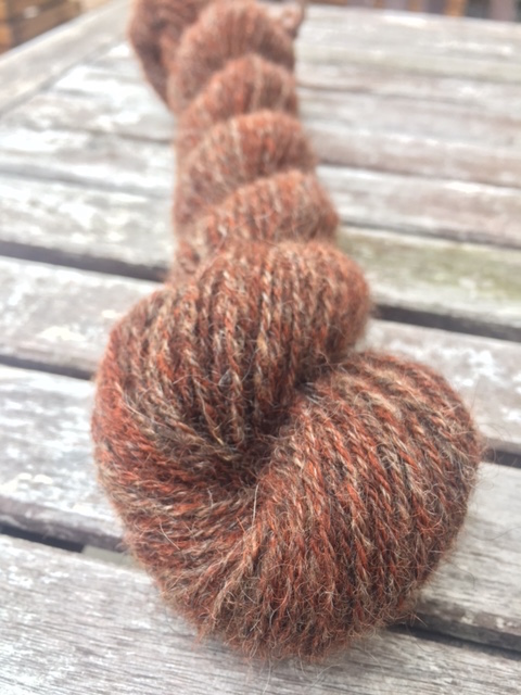 A skein of 3-ply yarn