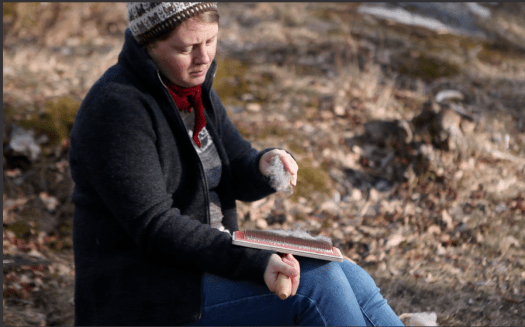 Josefin Waltin sitting outside carding wool