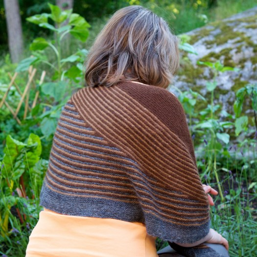 The back of a person wearing a striped shawl