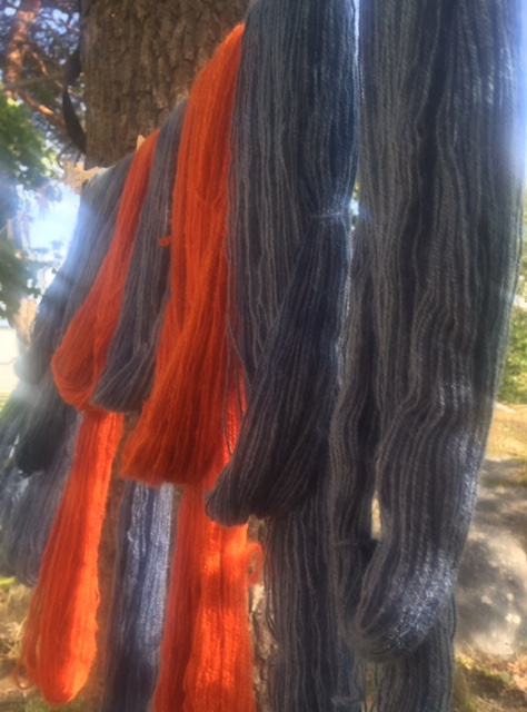 Orange and blue hand spun skeins of yarn on a wash line