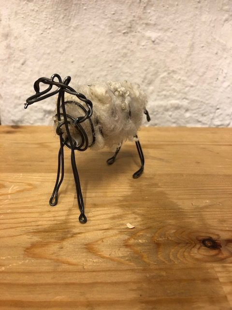 A sheep made of wire