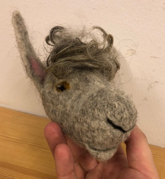 A felted sheep head